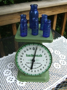 Sears Scale Sporting Some Blue Pharmacy Bottles