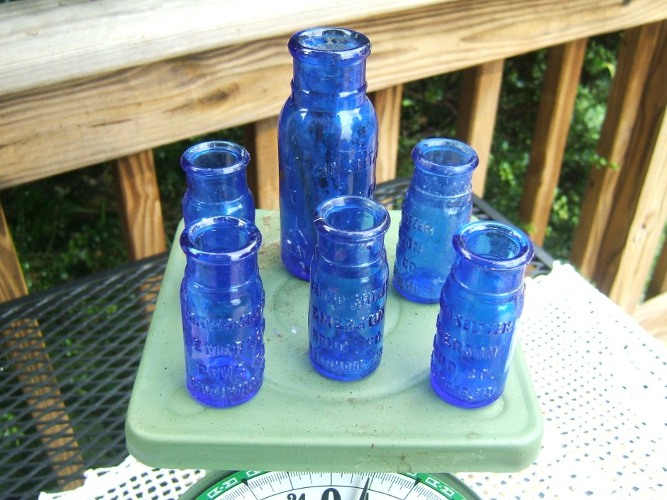 Blue Glass Pharmacy Bottles